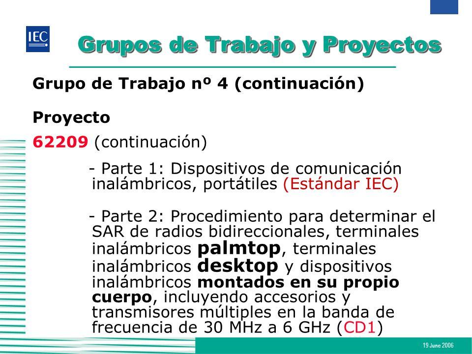 19 June 2006 Grupos de Trabajo y Proyectos Grupo de Trabajo nº 4 (continuación) Proyecto 62209 (continuación) - Parte 1: Dispositivos de comunicación