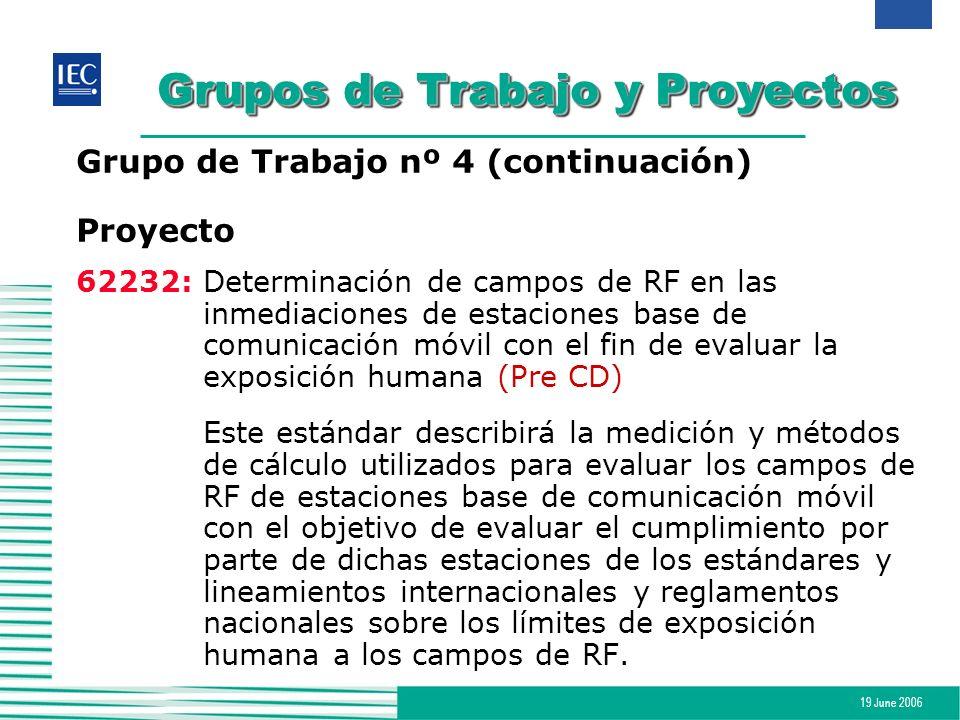 19 June 2006 Grupos de Trabajo y Proyectos Grupo de Trabajo nº 4 (continuación) Proyecto 62232:Determinación de campos de RF en las inmediaciones de e
