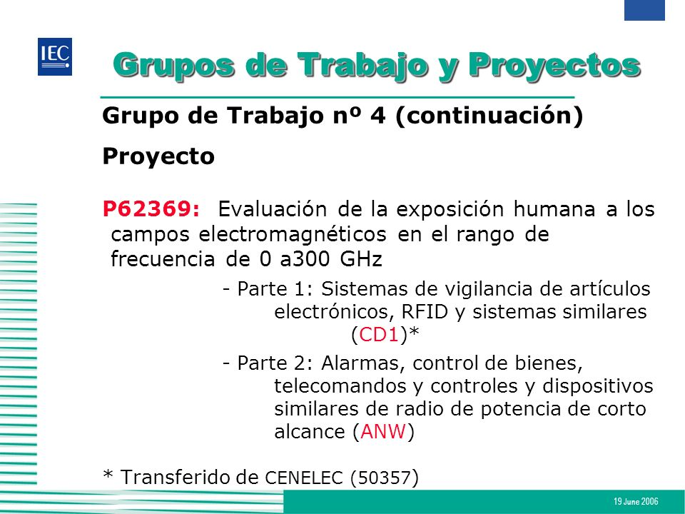19 June 2006 Grupos de Trabajo y Proyectos Grupo de Trabajo nº 4 (continuación) Proyecto P62369:Evaluación de la exposición humana a los campos electr