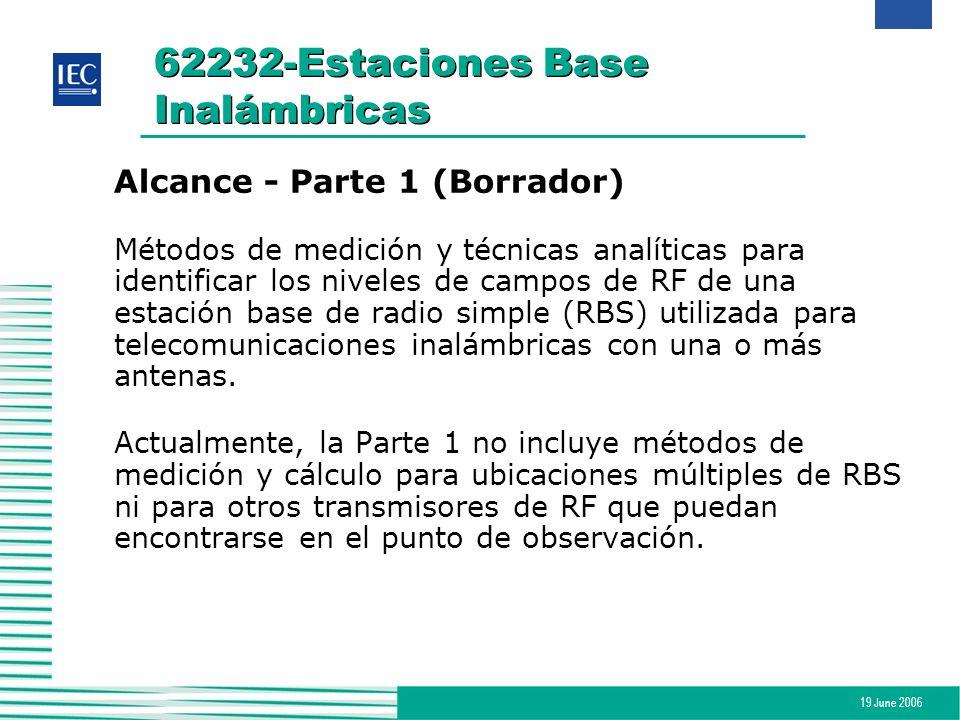 19 June 2006 62232-Estaciones Base Inalámbricas Alcance - Parte 1 (Borrador) Métodos de medición y técnicas analíticas para identificar los niveles de
