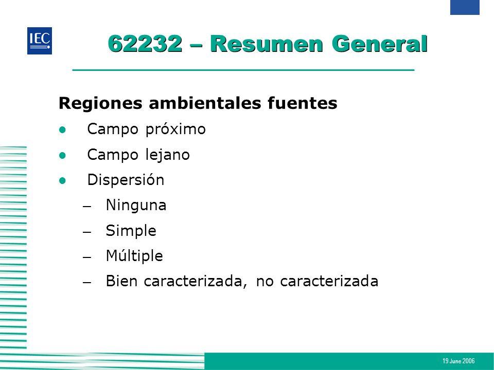 19 June 2006 62232 – Resumen General Regiones ambientales fuentes l Campo próximo l Campo lejano l Dispersión – Ninguna – Simple – Múltiple – Bien car