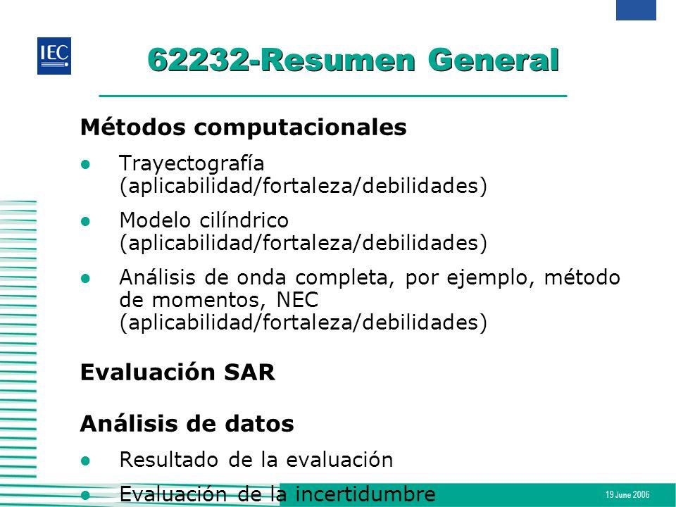 19 June 2006 62232-Resumen General Métodos computacionales l Trayectografía (aplicabilidad/fortaleza/debilidades) l Modelo cilíndrico (aplicabilidad/f