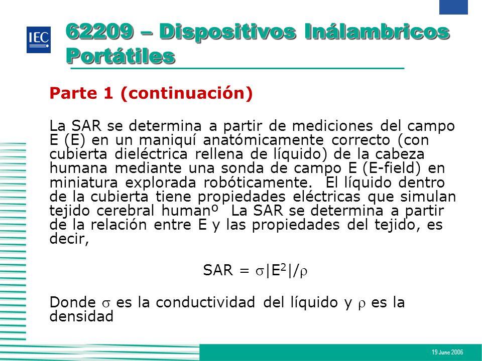 19 June 2006 62209 – Dispositivos Inálambricos Portátiles Parte 1 (continuación) La SAR se determina a partir de mediciones del campo E (E) en un mani