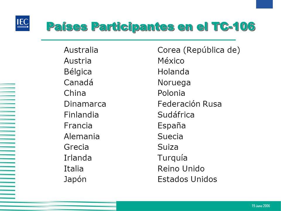 19 June 2006 Países Participantes en el TC-106 AustraliaCorea (República de) AustriaMéxico BélgicaHolanda CanadáNoruega ChinaPolonia DinamarcaFederaci