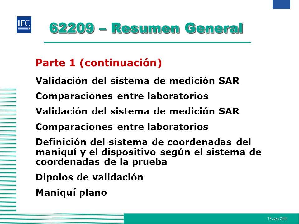 19 June 2006 62209 – Resumen General Parte 1 (continuación) Validación del sistema de medición SAR Comparaciones entre laboratorios Validación del sis