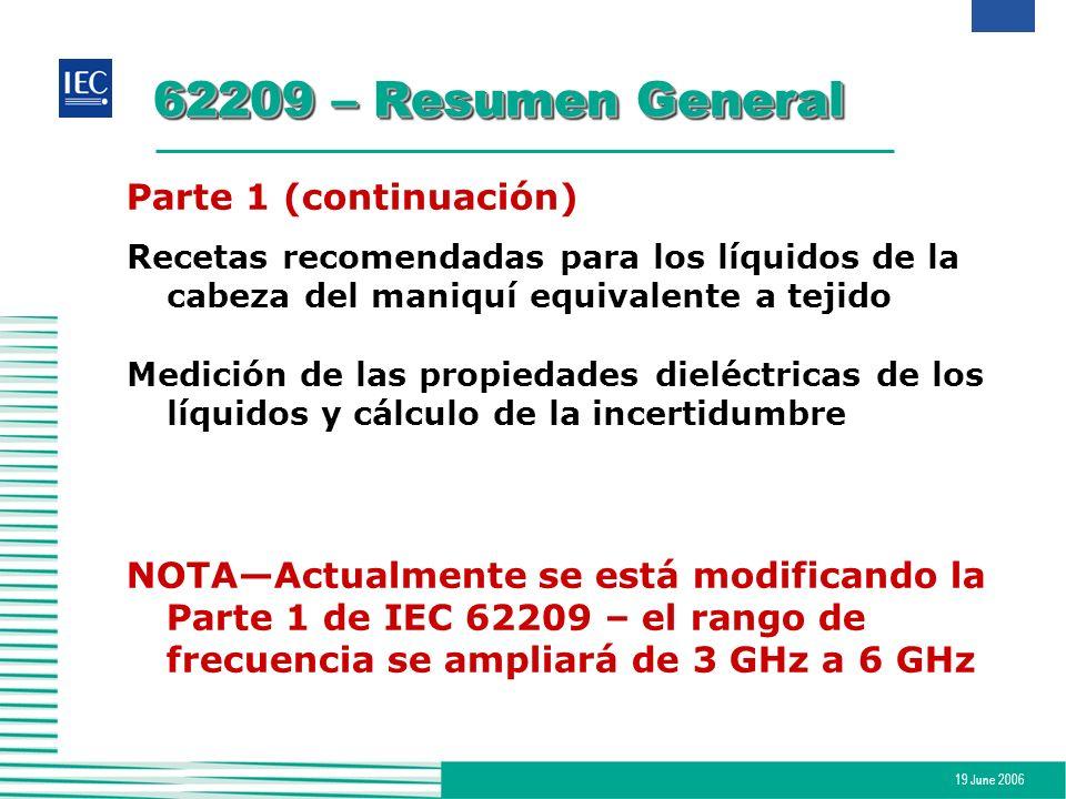 19 June 2006 62209 – Resumen General Parte 1 (continuación) Recetas recomendadas para los líquidos de la cabeza del maniquí equivalente a tejido Medic