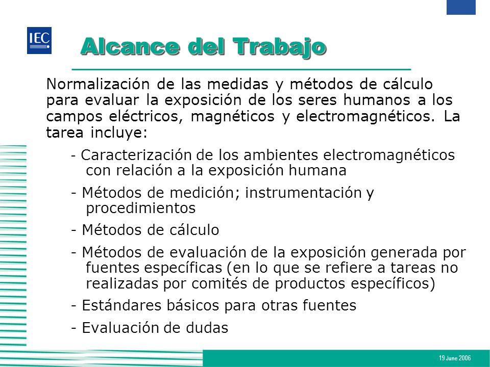 19 June 2006 Conclusión IEC TC-106 desarrolla estándares para evaluar la exposición de los seres humanos a campos eléctricos, magnéticos y electromagnéticos con un rango de frecuencia de 0 Hz a 300 GHz.