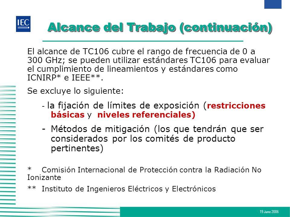 19 June 2006 Alcance del Trabajo (continuación) El alcance de TC106 cubre el rango de frecuencia de 0 a 300 GHz; se pueden utilizar estándares TC106 p
