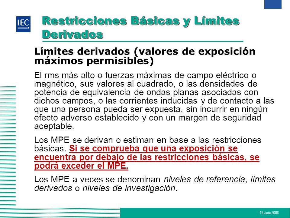 19 June 2006 Restricciones Básicas y Límites Derivados Límites derivados (valores de exposición máximos permisibles) El rms más alto o fuerzas máximas