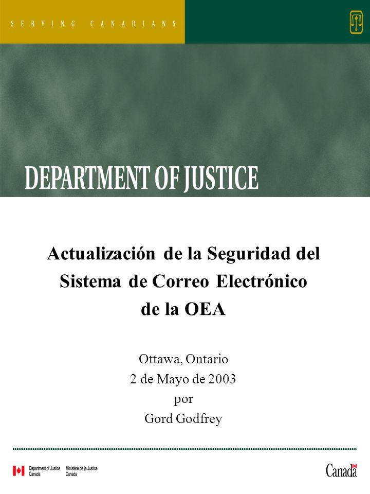 Actualización de la Seguridad del Sistema de Correo Electrónico de la OEA Ottawa, Ontario 2 de Mayo de 2003 por Gord Godfrey