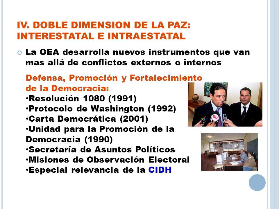 IV. DOBLE DIMENSION DE LA PAZ: INTERESTATAL E INTRAESTATAL La OEA desarrolla nuevos instrumentos que van mas allá de conflictos externos o internos De