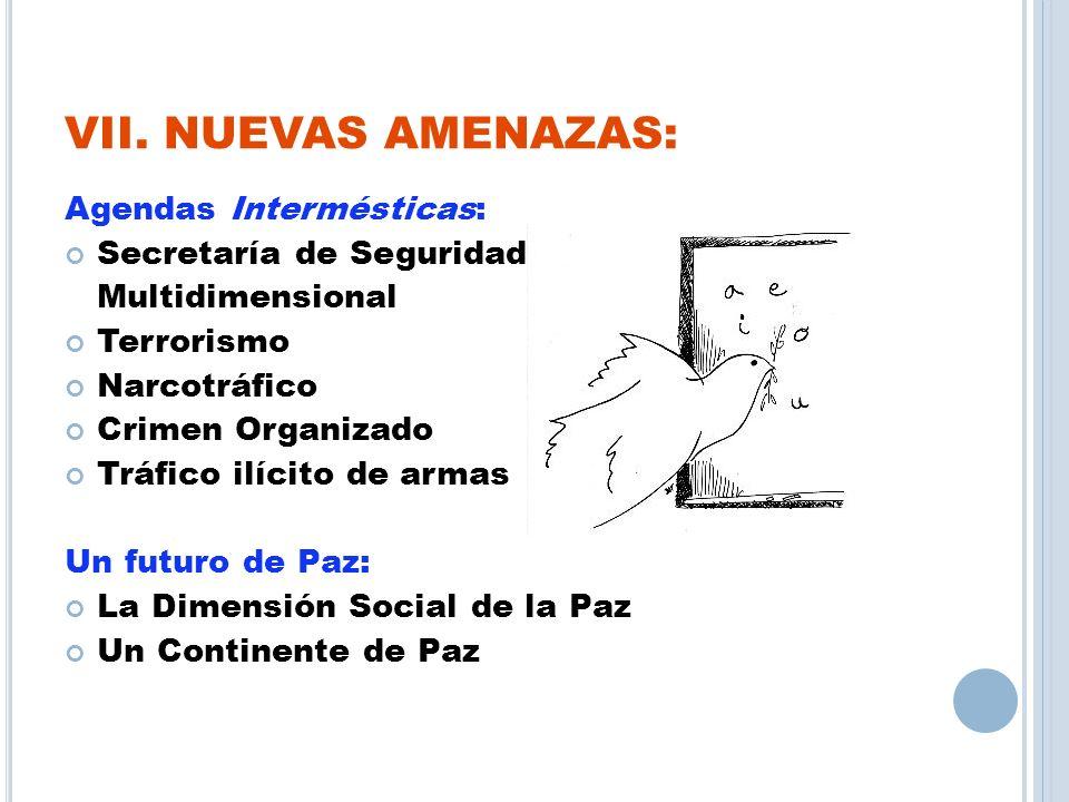 VII. NUEVAS AMENAZAS: Agendas Intermésticas: Secretaría de Seguridad Multidimensional Terrorismo Narcotráfico Crimen Organizado Tráfico ilícito de arm