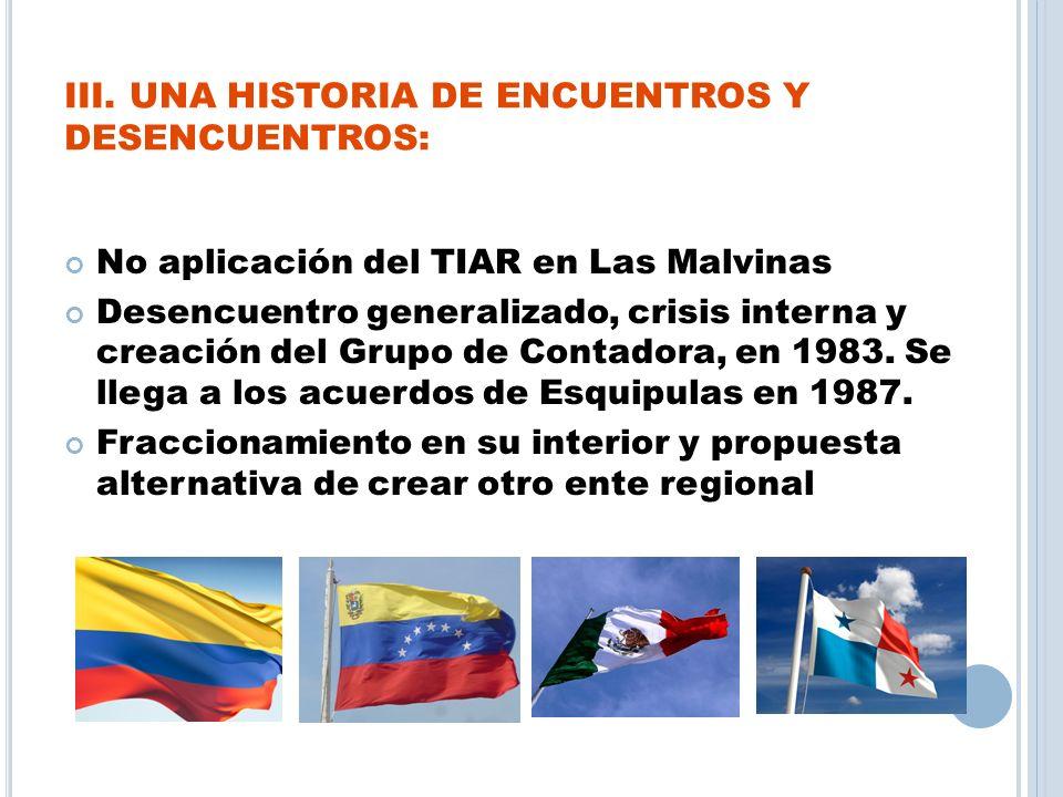 III. UNA HISTORIA DE ENCUENTROS Y DESENCUENTROS: No aplicación del TIAR en Las Malvinas Desencuentro generalizado, crisis interna y creación del Grupo