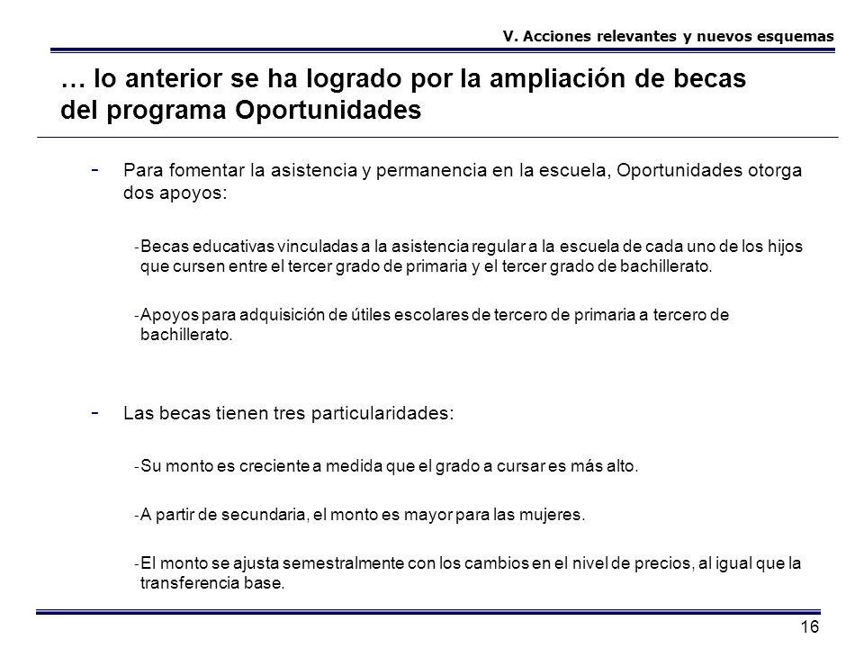 16 … lo anterior se ha logrado por la ampliación de becas del programa Oportunidades - Para fomentar la asistencia y permanencia en la escuela, Oportu