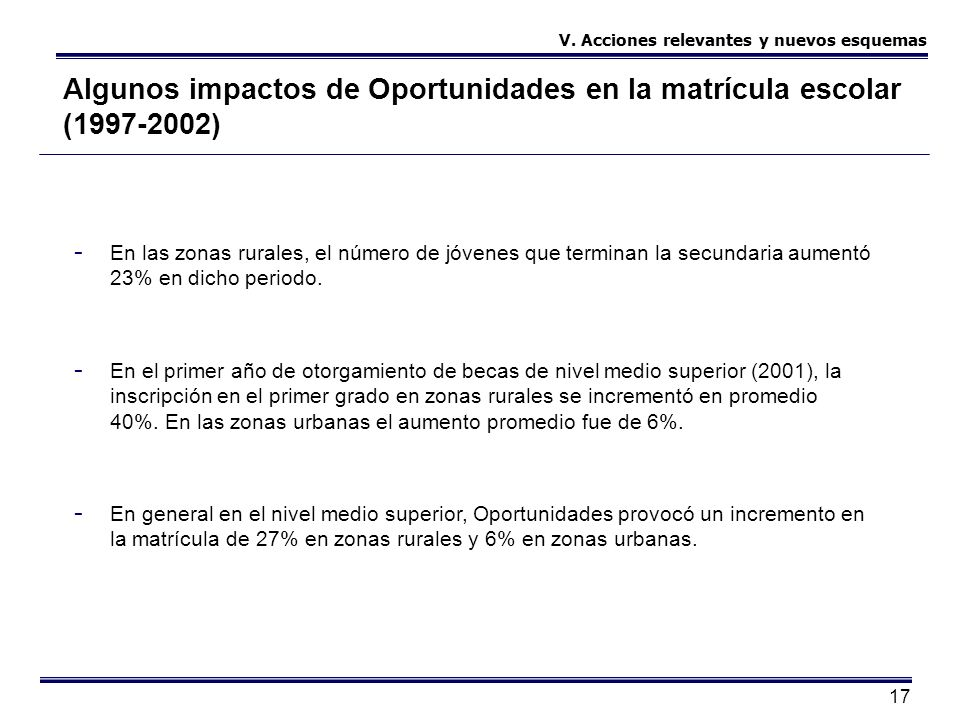 17 Algunos impactos de Oportunidades en la matrícula escolar (1997-2002) - En las zonas rurales, el número de jóvenes que terminan la secundaria aumen