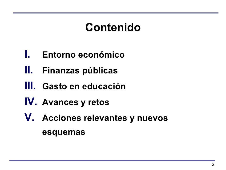 2 Contenido I. Entorno económico II. Finanzas públicas III. Gasto en educación IV. Avances y retos V. Acciones relevantes y nuevos esquemas
