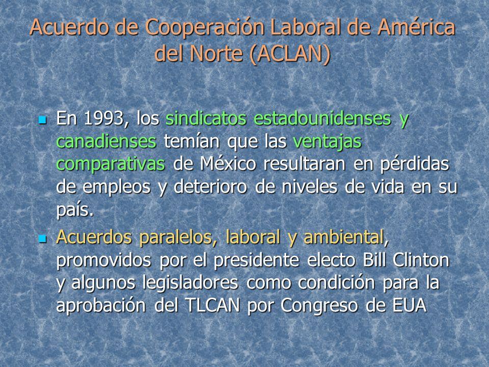 Acuerdo de Cooperación Laboral de América del Norte (ACLAN) En 1993, los sindicatos estadounidenses y canadienses temían que las ventajas comparativas
