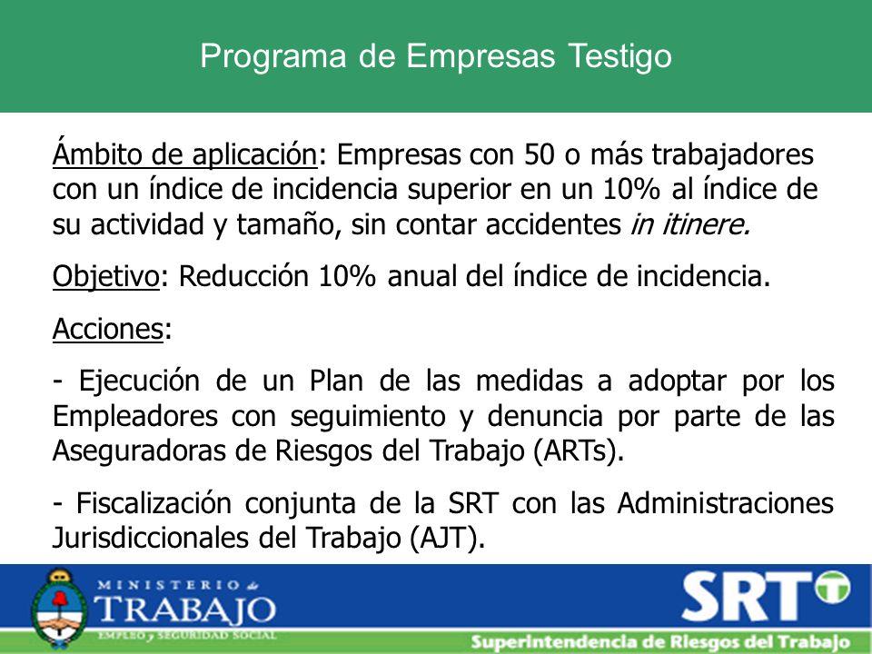 Programa de Empresas Testigo Ámbito de aplicación: Empresas con 50 o más trabajadores con un índice de incidencia superior en un 10% al índice de su a
