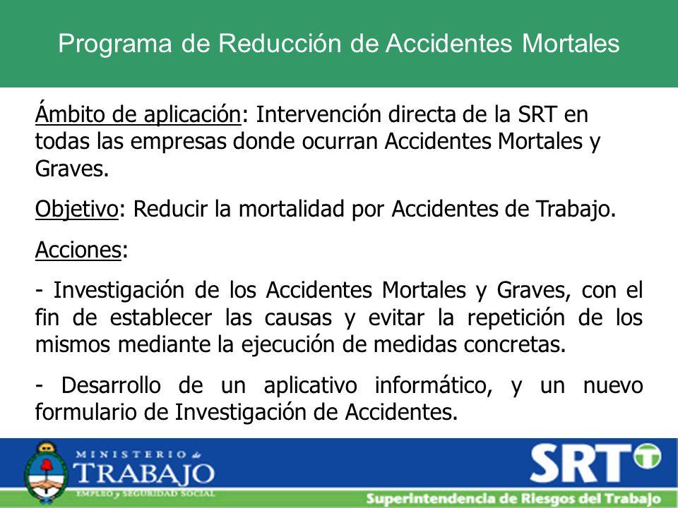 Programa de Reducción de Accidentes Mortales Ámbito de aplicación: Intervención directa de la SRT en todas las empresas donde ocurran Accidentes Morta