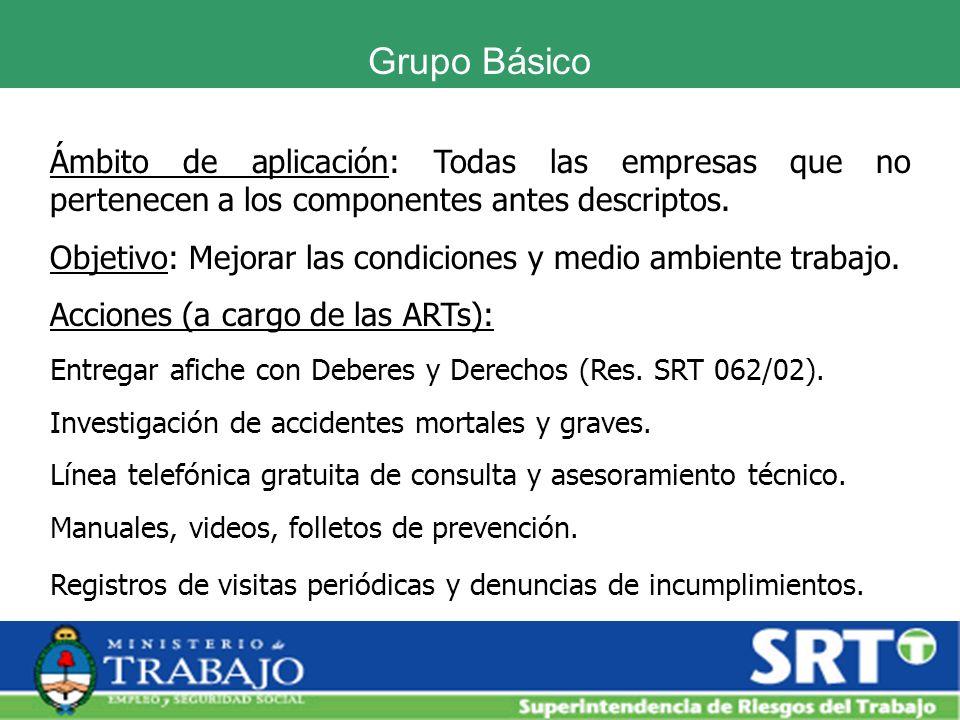 Grupo Básico Ámbito de aplicación: Todas las empresas que no pertenecen a los componentes antes descriptos. Objetivo: Mejorar las condiciones y medio