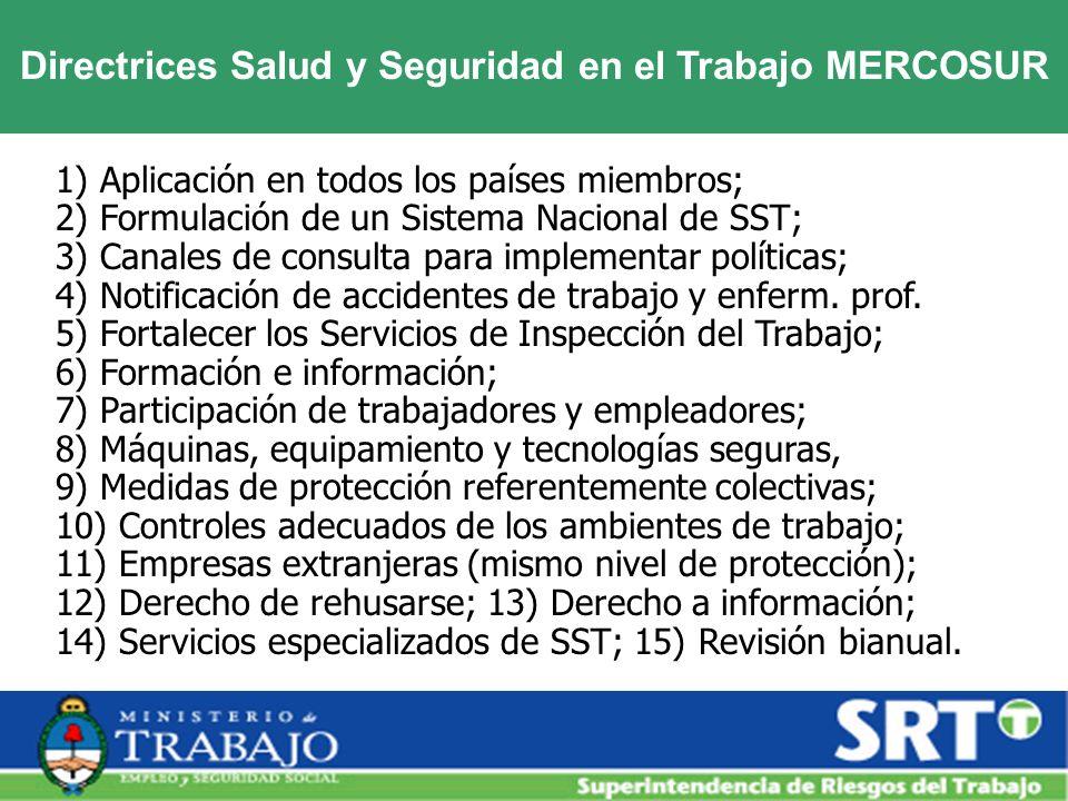 Directrices Salud y Seguridad en el Trabajo MERCOSUR 1) Aplicación en todos los países miembros; 2) Formulación de un Sistema Nacional de SST; 3) Cana