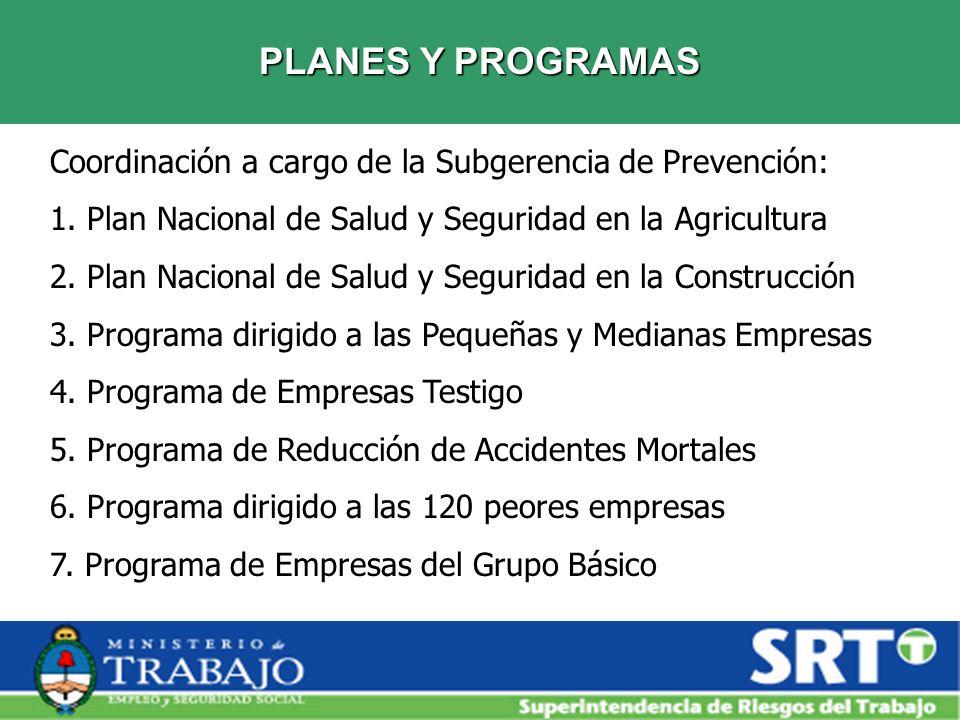 PLANES Y PROGRAMAS Coordinación a cargo de la Subgerencia de Prevención: 1. Plan Nacional de Salud y Seguridad en la Agricultura 2. Plan Nacional de S