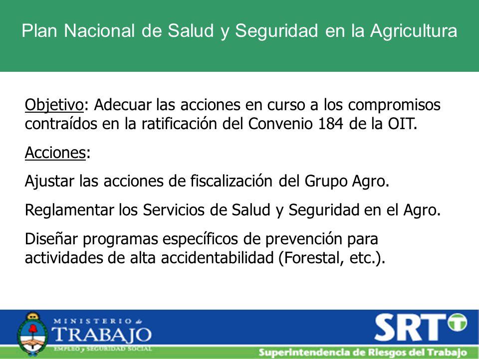 Plan Nacional de Salud y Seguridad en la Agricultura Objetivo: Adecuar las acciones en curso a los compromisos contraídos en la ratificación del Conve