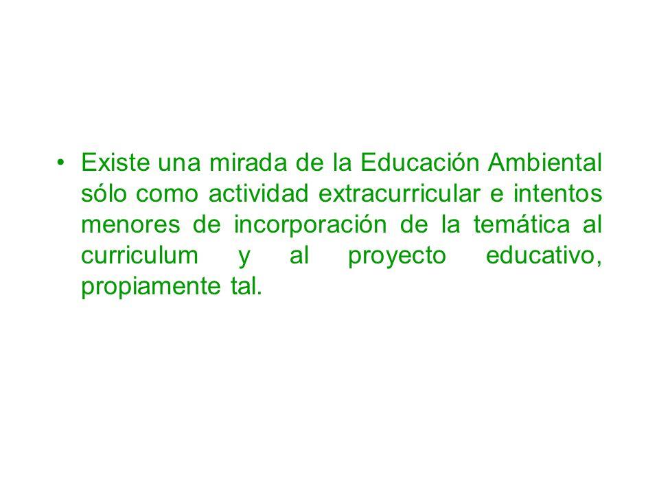 Existe una mirada de la Educación Ambiental sólo como actividad extracurricular e intentos menores de incorporación de la temática al curriculum y al