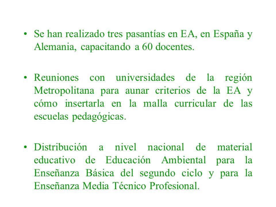 Se han realizado tres pasantías en EA, en España y Alemania, capacitando a 60 docentes. Reuniones con universidades de la región Metropolitana para au