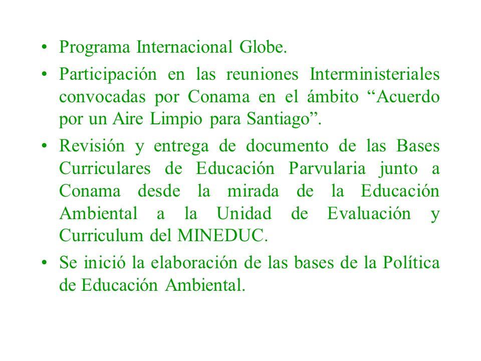 Programa Internacional Globe. Participación en las reuniones Interministeriales convocadas por Conama en el ámbito Acuerdo por un Aire Limpio para San