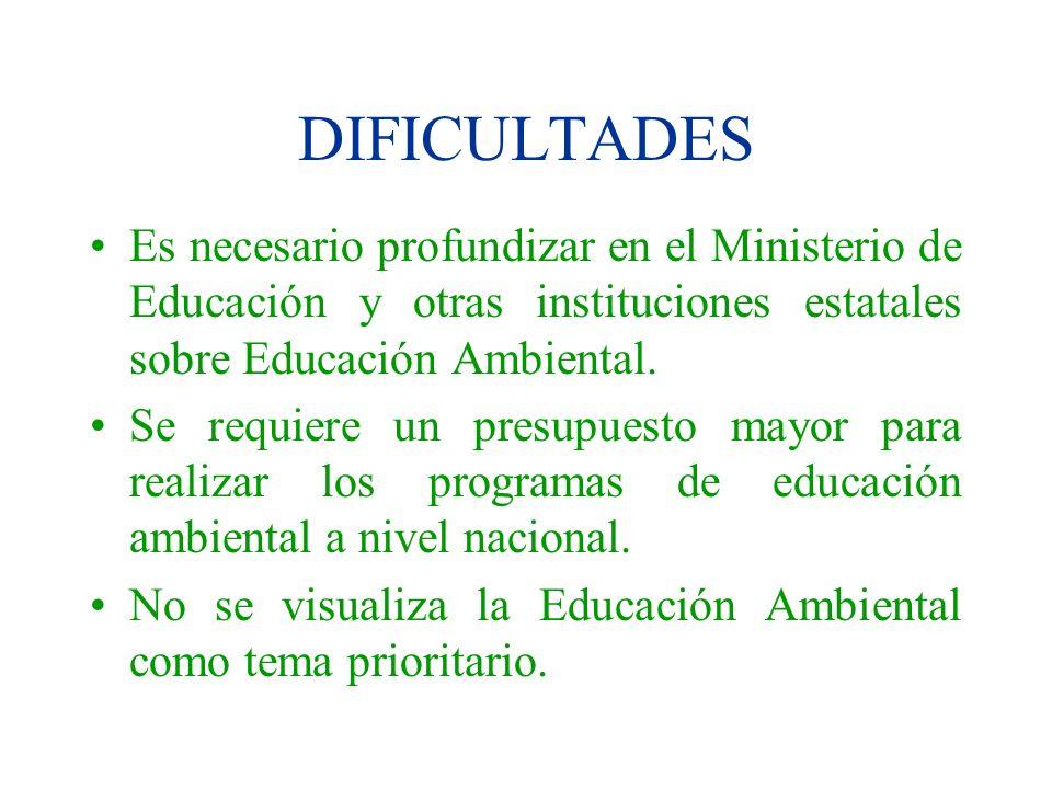 DIFICULTADES Es necesario profundizar en el Ministerio de Educación y otras instituciones estatales sobre Educación Ambiental. Se requiere un presupue