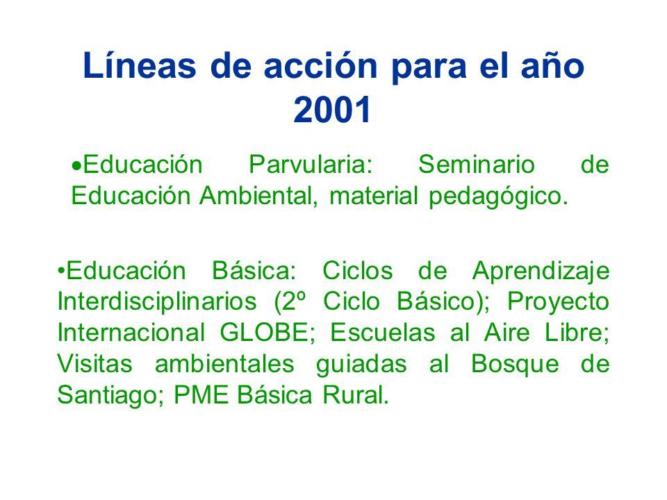 Líneas de acción para el año 2001 Educación Parvularia: Seminario de Educación Ambiental, material pedagógico. Educación Básica: Ciclos de Aprendizaje