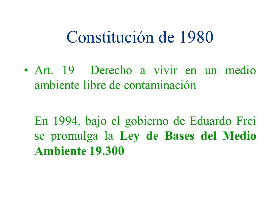 Constitución de 1980 Art. 19 Derecho a vivir en un medio ambiente libre de contaminación En 1994, bajo el gobierno de Eduardo Frei se promulga la Ley