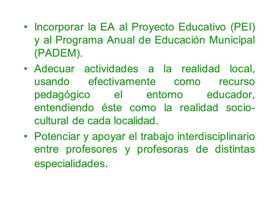 Incorporar la EA al Proyecto Educativo (PEI) y al Programa Anual de Educación Municipal (PADEM). Adecuar actividades a la realidad local, usando efect
