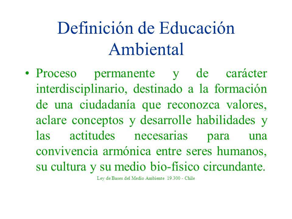 Definición de Educación Ambiental Proceso permanente y de carácter interdisciplinario, destinado a la formación de una ciudadanía que reconozca valore