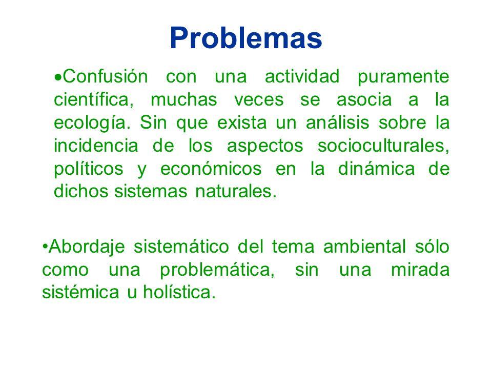 Problemas Confusión con una actividad puramente científica, muchas veces se asocia a la ecología. Sin que exista un análisis sobre la incidencia de lo