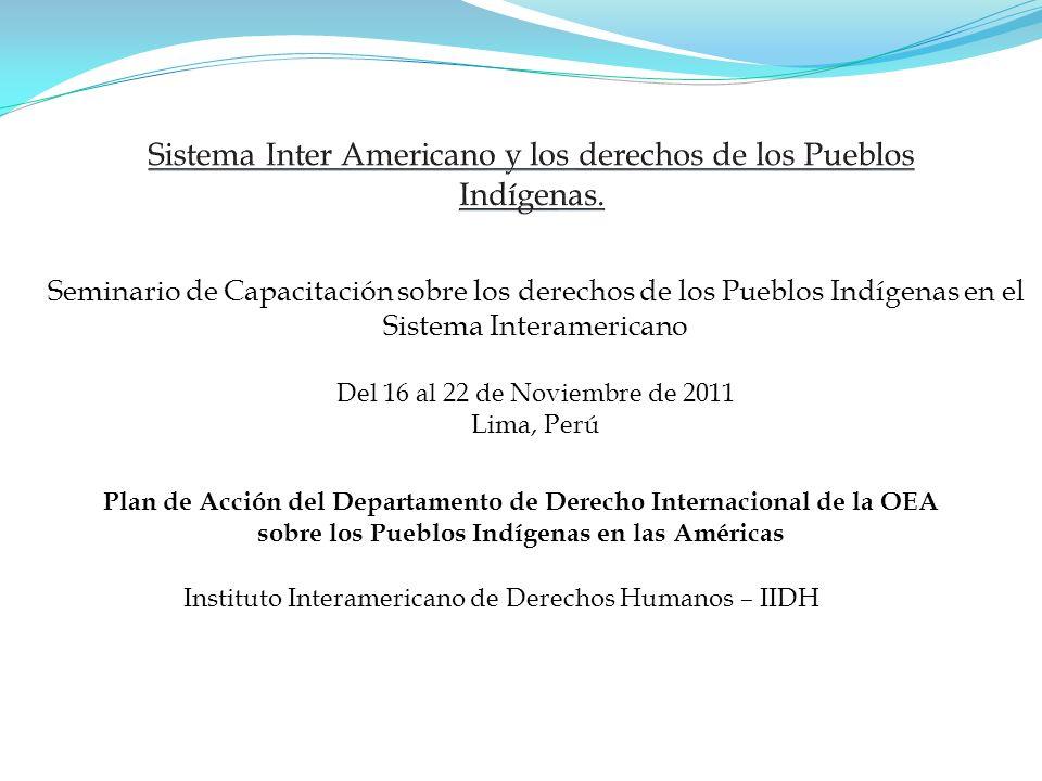 Seminario de Capacitación sobre los derechos de los Pueblos Indígenas en el Sistema Interamericano Del 16 al 22 de Noviembre de 2011 Lima, Perú Instit