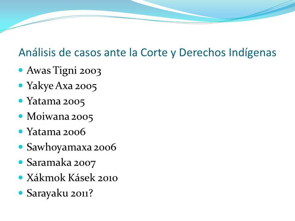 Análisis de casos ante la Corte y Derechos Indígenas Awas Tigni 2003 Yakye Axa 2005 Yatama 2005 Moiwana 2005 Yatama 2006 Sawhoyamaxa 2006 Saramaka 200