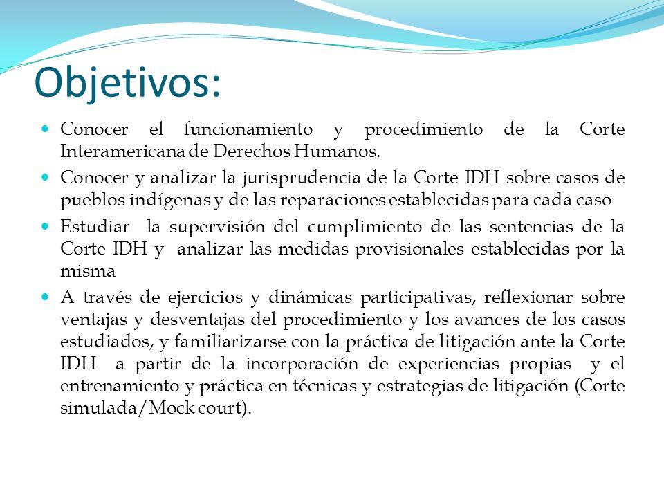 Objetivos: Conocer el funcionamiento y procedimiento de la Corte Interamericana de Derechos Humanos. Conocer y analizar la jurisprudencia de la Corte