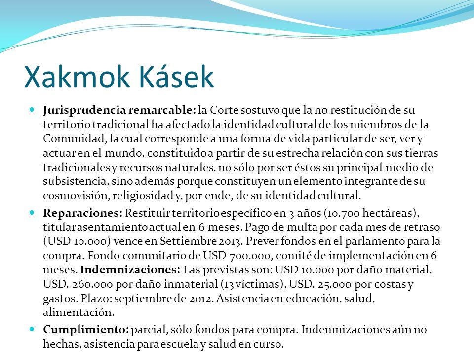 Xakmok Kásek Jurisprudencia remarcable: la Corte sostuvo que la no restitución de su territorio tradicional ha afectado la identidad cultural de los m