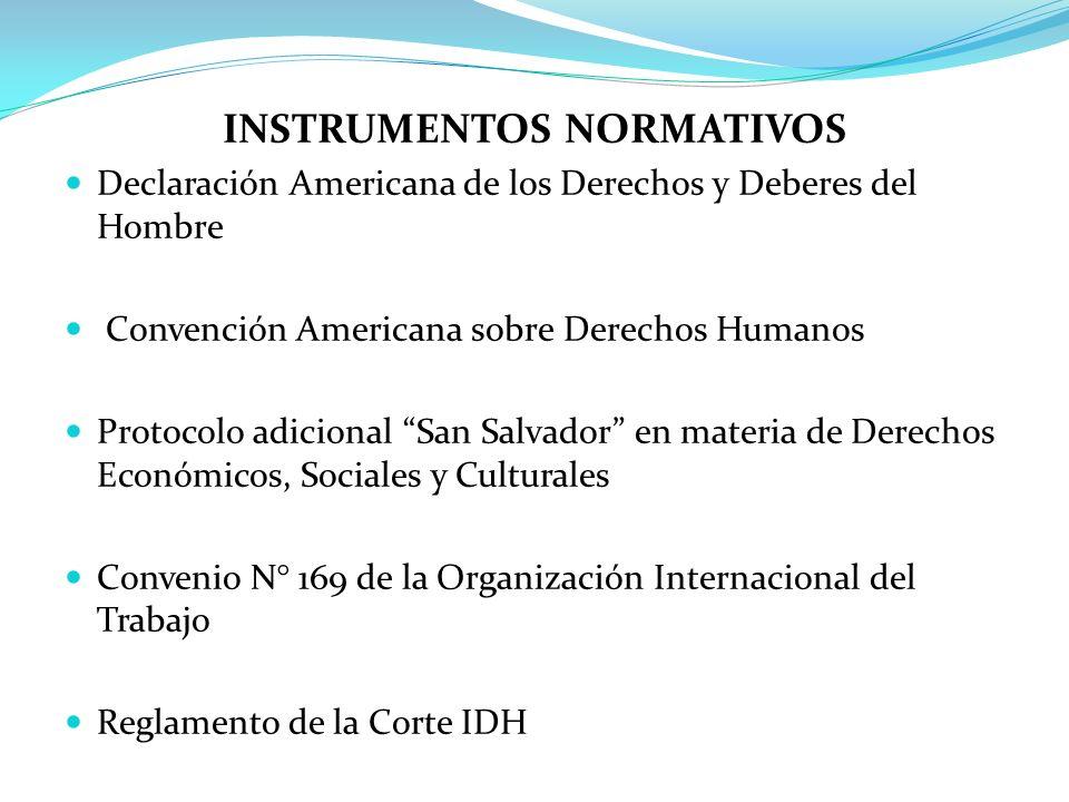 INSTRUMENTOS NORMATIVOS Declaración Americana de los Derechos y Deberes del Hombre Convención Americana sobre Derechos Humanos Protocolo adicional San