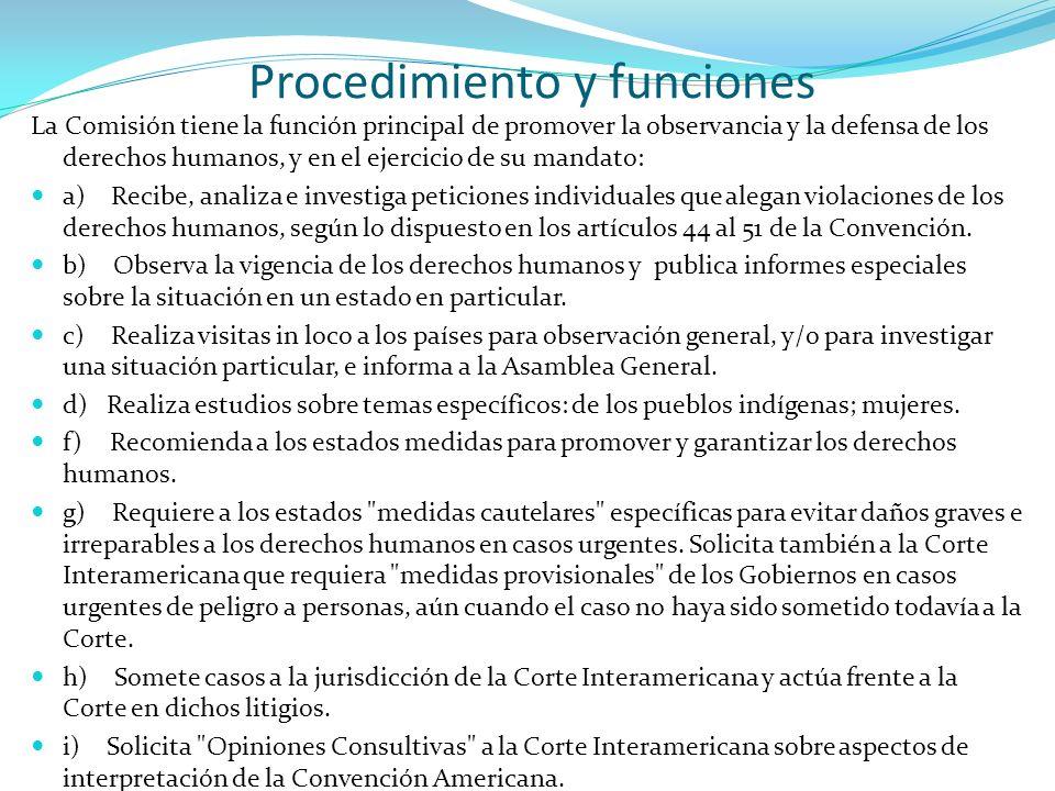Procedimiento y funciones La Comisión tiene la función principal de promover la observancia y la defensa de los derechos humanos, y en el ejercicio de
