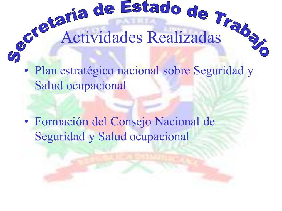 Actividades Realizadas Plan estratégico nacional sobre Seguridad y Salud ocupacional Formación del Consejo Nacional de Seguridad y Salud ocupacional