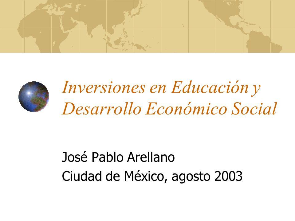 Contribución de la educación al desarrollo Rentabilidad de la inversión en educación En América Latina los niveles de rentabilidad están entre los más altos La rentabilidad de la inversión temprana en educación es mayor Primaria tiene mayor rentabilidad