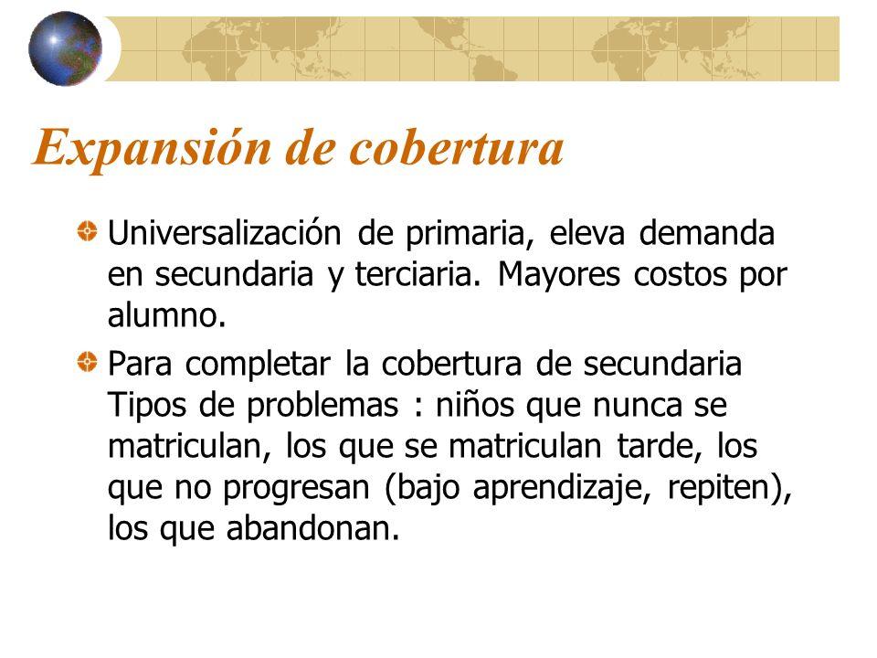 Expansión de cobertura Universalización de primaria, eleva demanda en secundaria y terciaria. Mayores costos por alumno. Para completar la cobertura d