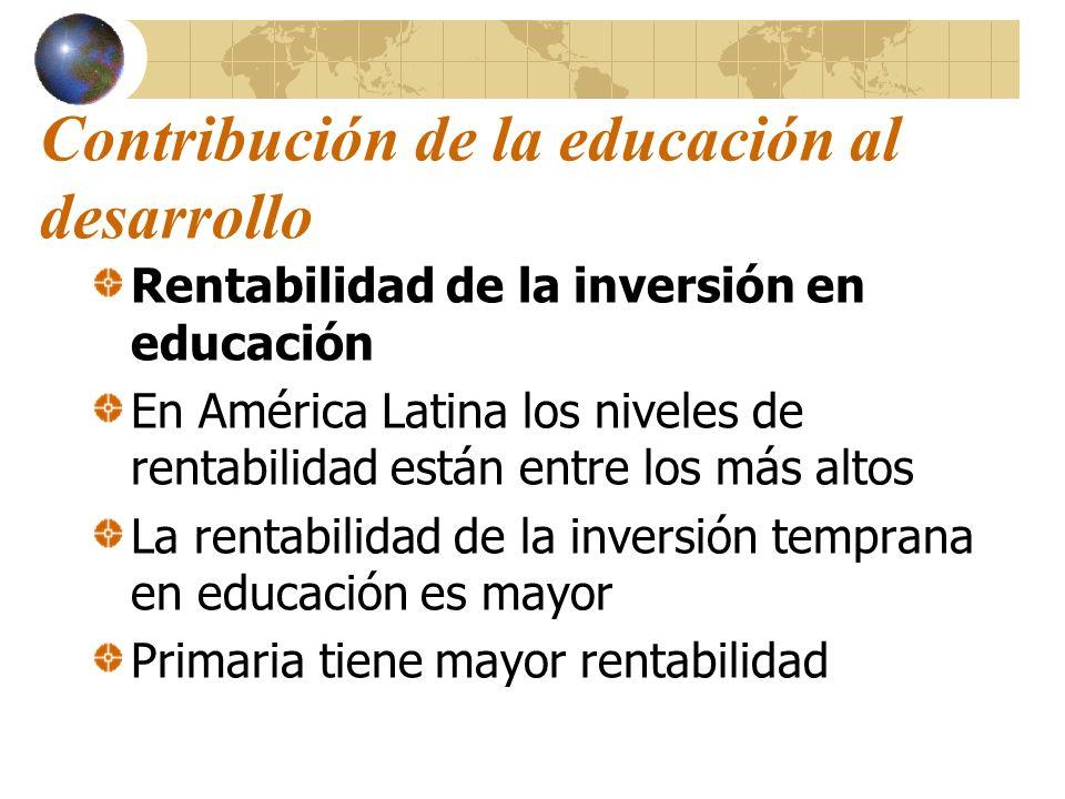 Contribución de la educación al desarrollo Rentabilidad de la inversión en educación En América Latina los niveles de rentabilidad están entre los más