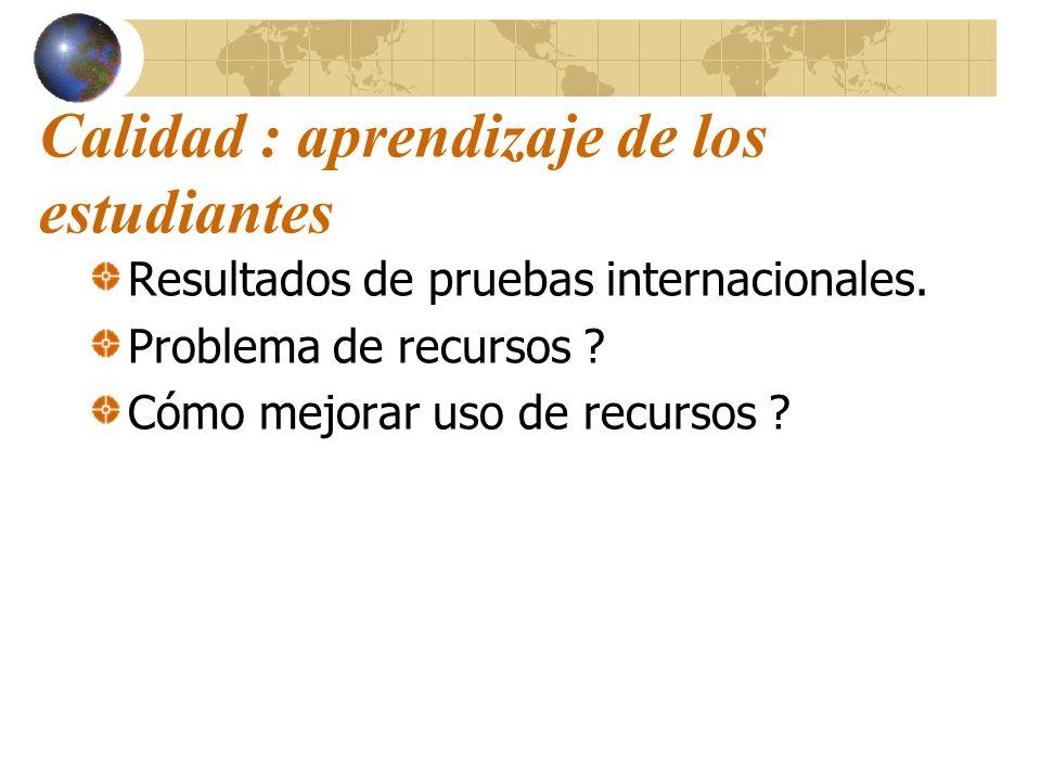 Calidad : aprendizaje de los estudiantes Resultados de pruebas internacionales. Problema de recursos ? Cómo mejorar uso de recursos ?