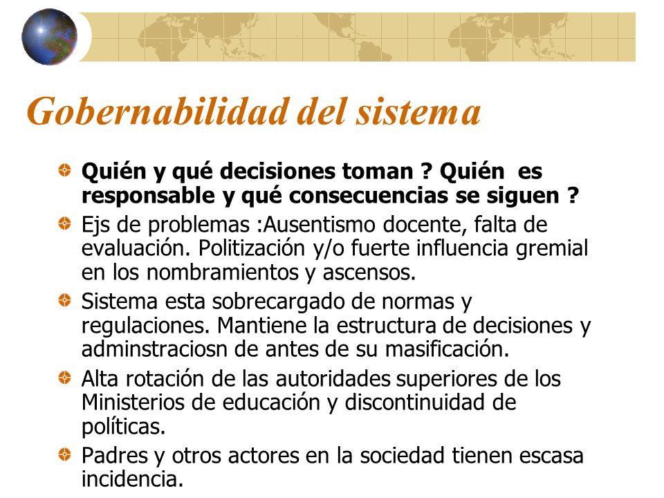 Gobernabilidad del sistema Quién y qué decisiones toman ? Quién es responsable y qué consecuencias se siguen ? Ejs de problemas :Ausentismo docente, f