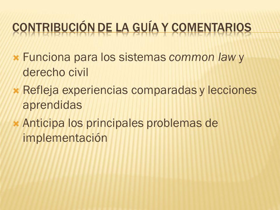 Funciona para los sistemas common law y derecho civil Refleja experiencias comparadas y lecciones aprendidas Anticipa los principales problemas de implementación