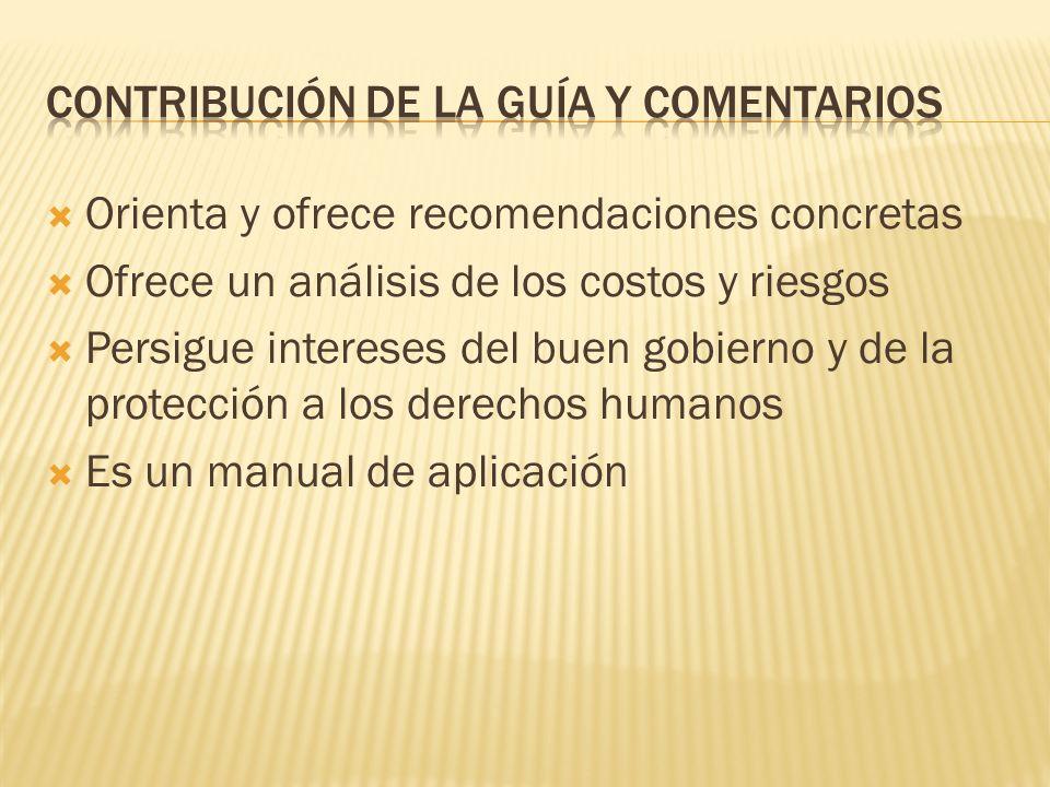 Orienta y ofrece recomendaciones concretas Ofrece un análisis de los costos y riesgos Persigue intereses del buen gobierno y de la protección a los derechos humanos Es un manual de aplicación